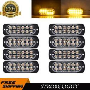 8x Amber Strobe Light Bar 12 Led Car Emergency Flash Hazard Beacon Lamp