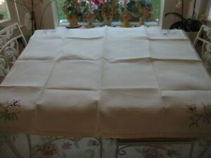 Beautiful Vintage White Embroidered Floral Linen Tablecloth Cover Butterflies