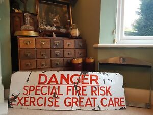 Antique Vintage Industrial Enamel Metal Sign Red White Danger Fire Explosion