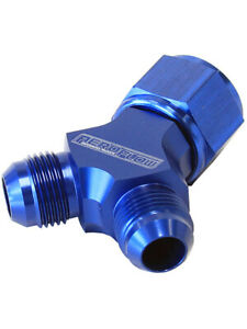 Aeroflow Y Block Female Swivel 10an Inlet To 2 X 8an Outlets Blue Af931 10 08