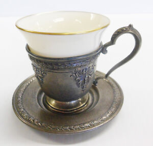 Sterling International Silver Demitasse Cup Saucer Lenox Liner Insert