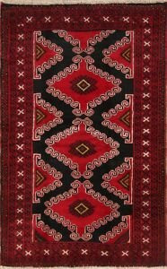 Excellent Condition Geometric 4x6 Wool Black Balouch Afghan Oriental Area Rug