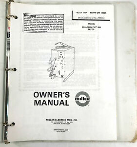 Miller Owners Manual Model Millermatix 200 Skp 35 March 1987 Form Om 1303k