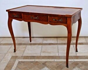 Vintage Baker Fine Furniture French Country Writing Desk Inlay Walnut Top