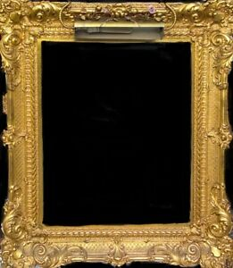 Antique Large Ornate Gold Gilt Wood Gesso Frame 38 X34 W Light Excellent Cond