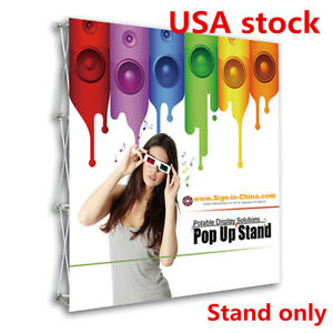 Us 8ft Tension Fabric Pop Up Display Backdrop Trade Show Exhibition Booth