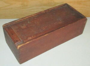 Antique Hand Made Dovetailed Red Stained Pine Wood Candle Box With Sliding Lid
