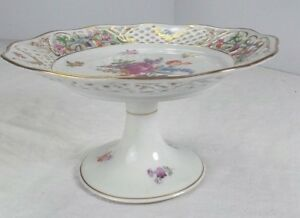 Antique Dresden Style Reticulated Footed Compote Cake Plate Floral