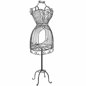Vintage Designers Model Black Metal Scrollwork Wire Frame Dress Form Display