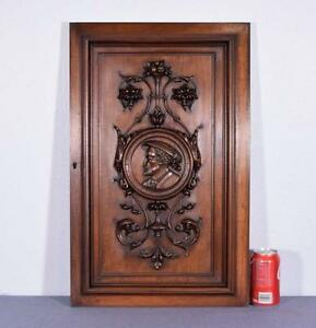 French Antique Hand Carved Panel Door In Walnut Wood With Portrait Of A Man