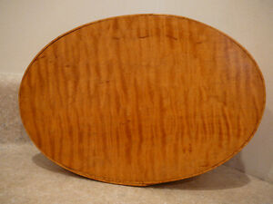 S25 Wooden Tiger Maple Oval Pantry Storage Box Lidded Shaker Style Artist Made