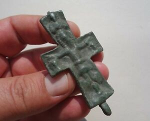Ancient Late Roman Byzantine Bronze Cross Displayed A Jesus In Crucified