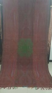 Antique French Paisley Kashmir Design Shawl Woolen Size 126 By63