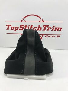 Fits 07 14 Mitsubishi Evo X 5 Speed Shift Boot Black And Grey Suede