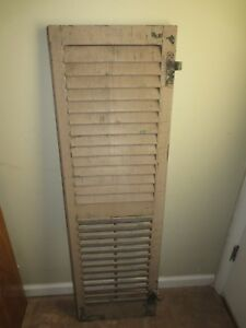1 Antique Wood Shutters W Hardware Louvered Reclaimed Rustic Vintage Decor