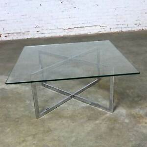 Square Mid Century Modern Chrome X Base Glass Top Coffee Table After Baughman