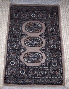 Vintage Wool Hand Knot Persian Elephant Foot Gul Throw Rug 22x34 Black