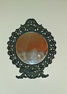 14 Tall Vintage Victorian Style Cast Iron Vanity Table Top Mirror By Emig 1316