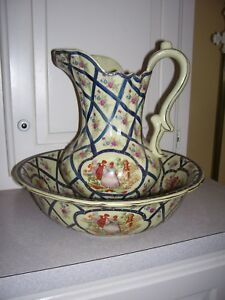 Antique Vtg Limoges China Porcelain Wash Bowl Pitcher Colonial Scenery Rare