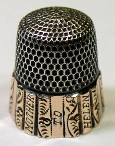 Antique Goldsmith Stern Co Gold Band Sterling Silver Thimble Columns C1910s
