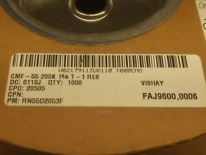 Vishay dale Rn55d2053f Metal Film Resistor 205k Ohm 1 Partial Spool 500 Plus