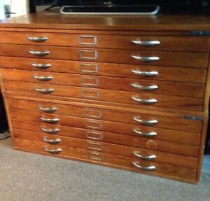 Vintage Ten Drawer Flat File Drafting Cabinet By Mayline