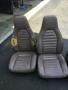 Porsche 944 Oem Tan Leather Seats Front Pair Left Right Needs Work can Ship