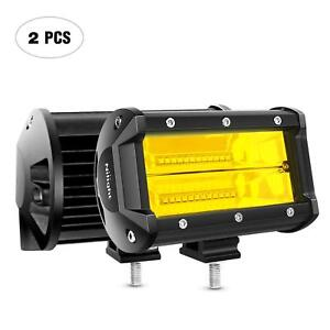 2 Pcs 5 Inch 72w Double Row Flood Led Bar Off Road Driving Fog Lights Truck Atv