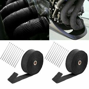 2 Roll 2 X 50ft Thermal Header Pipe Tape Exhaust Wrap 20 Ties Kit Fiberglass