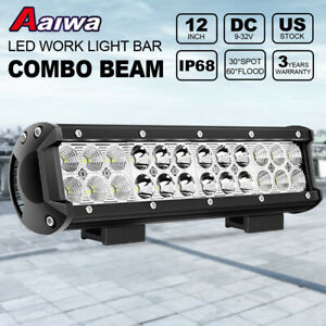 12 72w Cree Led Work Light Bar Spot Flood Combo Fit Offroad Pickup Van Atv 12v