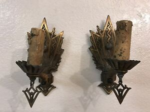 Vintage Pair Of Art Deco Wall Sconces Both Work