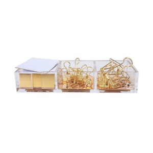 Clarity Gold Notes Holder With Cube Memo Pad 320 Sheets Acrylic 3 In 1 Drawer