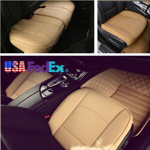 Pu Leather Car Seat Cushions Front back Seat Covers Beige Interior Accessories