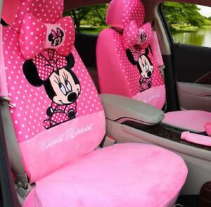 Winter Plush Mickey Cartoon Cushion Full Car Seat Covers Universal Fit Pink 20pc