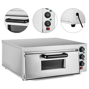 Electric 2000w Pizza Oven Single Deck Rotisserie Fire Stone Catering 110v