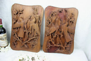 Pair Swiss Black Forest Wood Carved Wall Plaques Panels Birds Hunting Scene