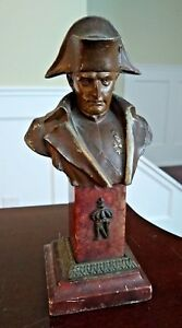 Antique Napoleon Bust France Rouge Marble Base 19th Century