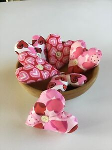 6 Fabric Valentine Hearts Bowl Fillers Ornies Tucks Pink Multi Color Hearts New