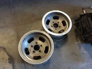 Pair 14x7 Ansen Sprint Wheels Usa Made Vintage Mags 5x4 3 4 Chevy Slot Mags