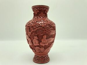 Antique 19th C Chinese Carved Lacquer Red Cinnabar Vase 5 H Good Condition