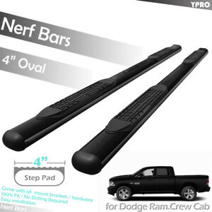 Fit 2010 2019 Dodge Ram 1500 2500 3500 Crew Cab 4 Step Nerf Bars Running Boards