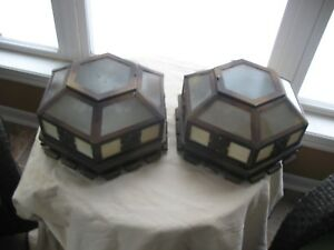 Pair Antique Arts And Crafts Style Ceiling Flush Mount Caramel Slag Glass