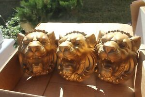 Vintage Hand Carved Wood Gold Lion Heads Wall Decor Sculptures 8 Ready To Hang