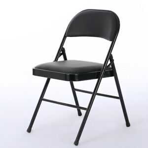 Set Of 4 Home Dinner Fabric Upholstered Padded Seat Metal Frame Folding Chair Us