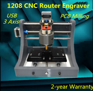 Mini 3 Axis Cnc 1208 Engraving Machine Hobby Pcb Milling Wood Carving Router Diy