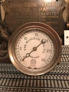 Antique National Steam Specialty Co Mcalear Steam Pressure Railroad Gauge