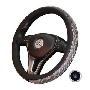 Bling Steering Wheel Cover 15 Pu Leather Free Crystal Bling Ring Button Emblem