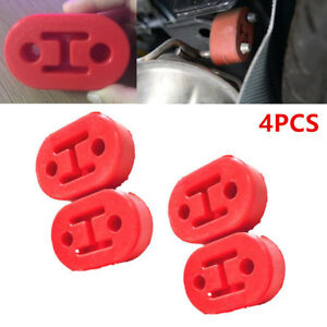 4pcs Universal Car Rubber Exhaust Hangers Pipe Mounting Bracket 12mm Hole Red