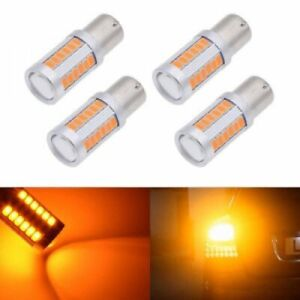 4x 5630 33smd Bau15s Py21w Led Turn Signal Lights Bulb Canbus Amber Yellow
