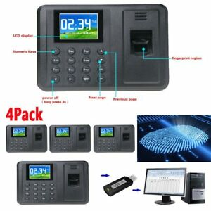 4x Biometric Fingerprint Attendance Time Clock Employee Payroll Recorder Tcp Ap